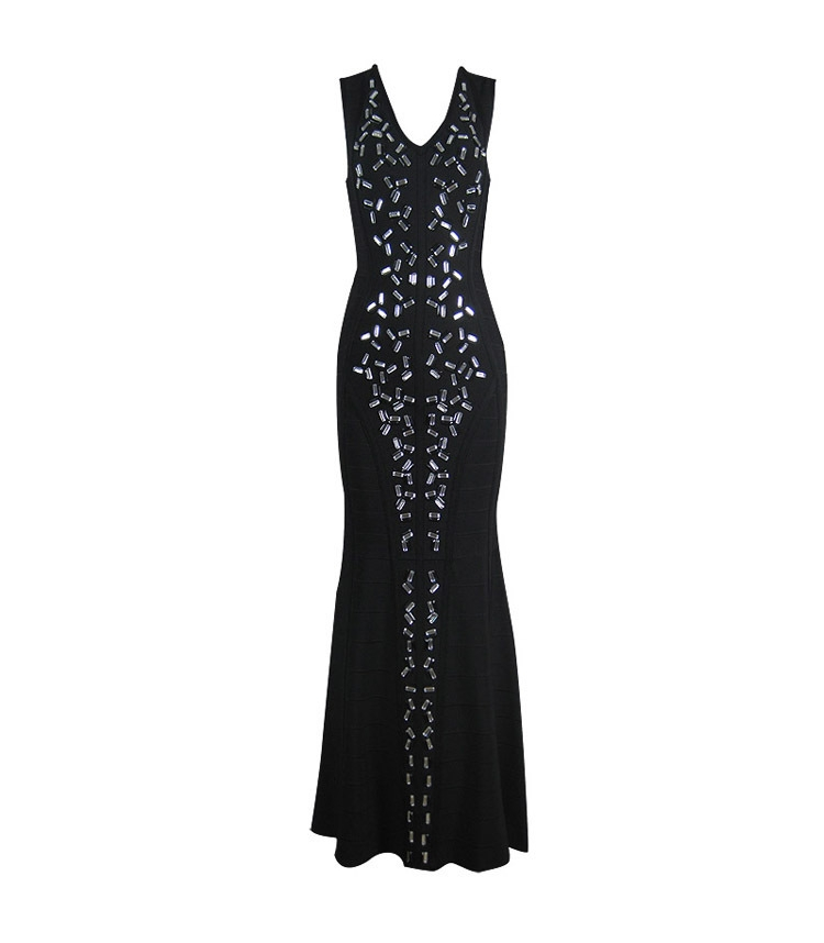 Luxury Long Diamond Beaded V-Neck Evening Dress