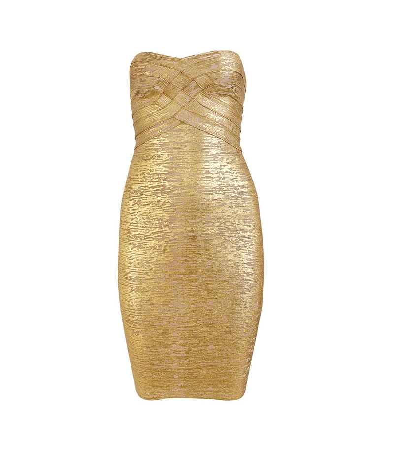 Gold Foil Print Strapless Bandage Dress