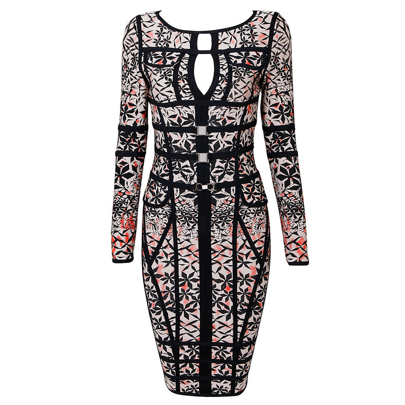 Long Sleeve Grey Pattern Printed Bandage Dress