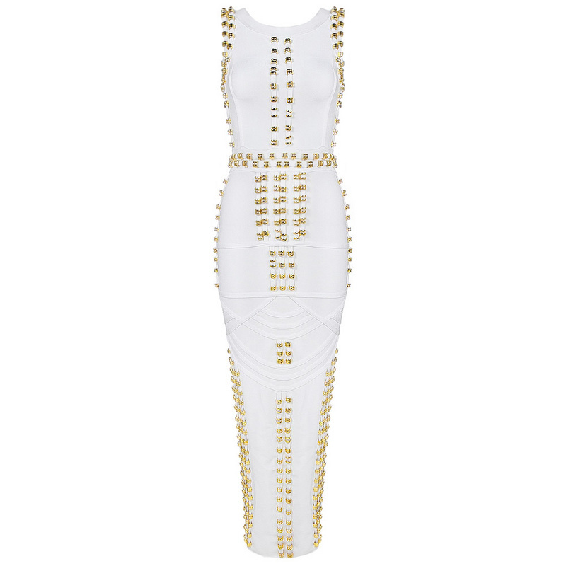 Luxury Long White/Gold Beaded Bandage Dress