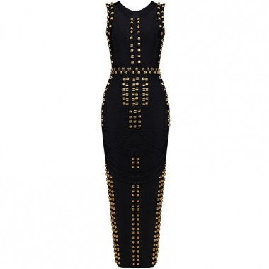 Luxury Long Black/Gold Beaded Bandage Dress