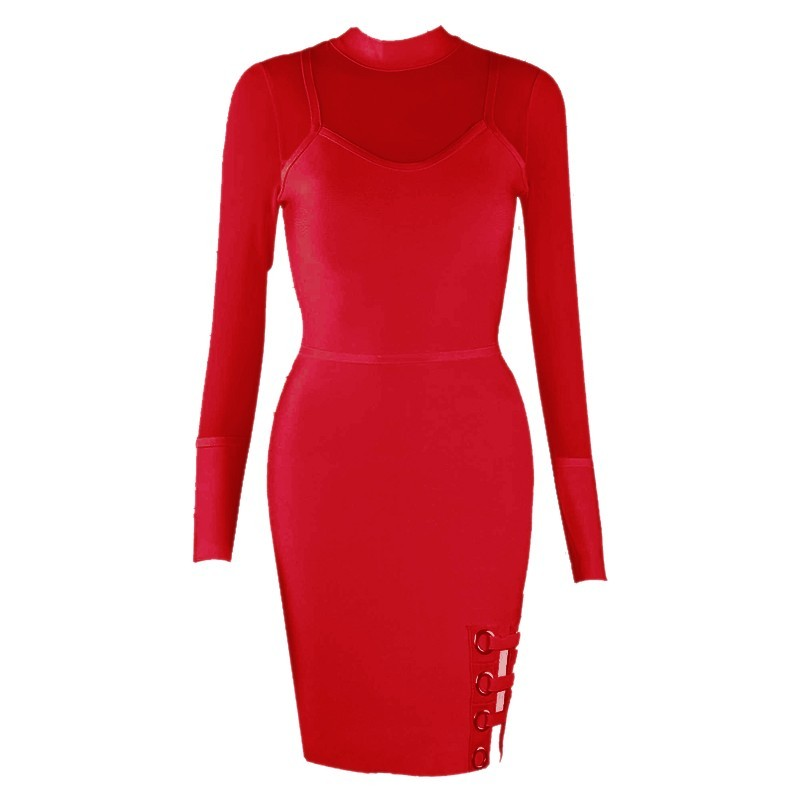 Sandra Bandage Dress-Red