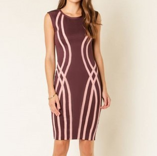 Kimberly Bandage Dress- Wine