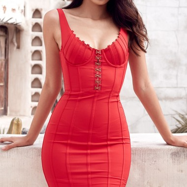Pamela Bandage Dress- Red
