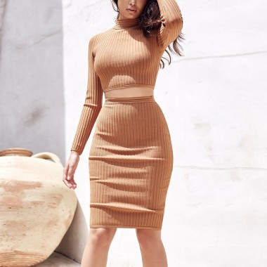 Cheryl Two Piece Bandage Set- Tan