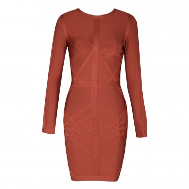 Margaret Bandage Dress-Brown