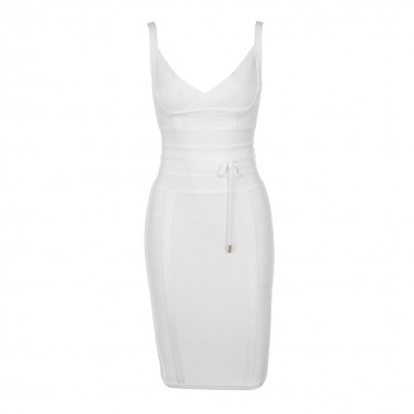 Sharon Bandage Dress- White/Red/Mustard