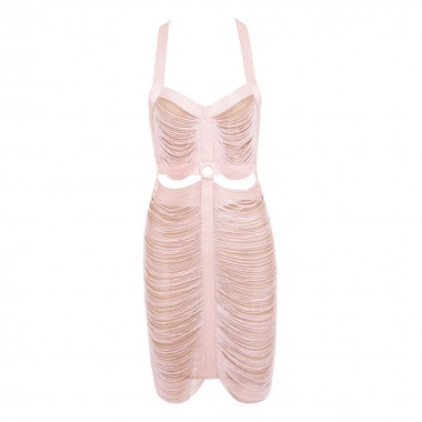 Sarah Tassel Dress- Soft Pink/Black